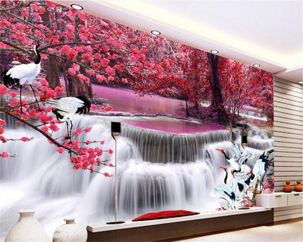 beibehang Custom interior decoration painting personality wallpaper beautiful waterfall crane crane TV wall 3d wallpaper tapety beibehang custom 3d personality summer
