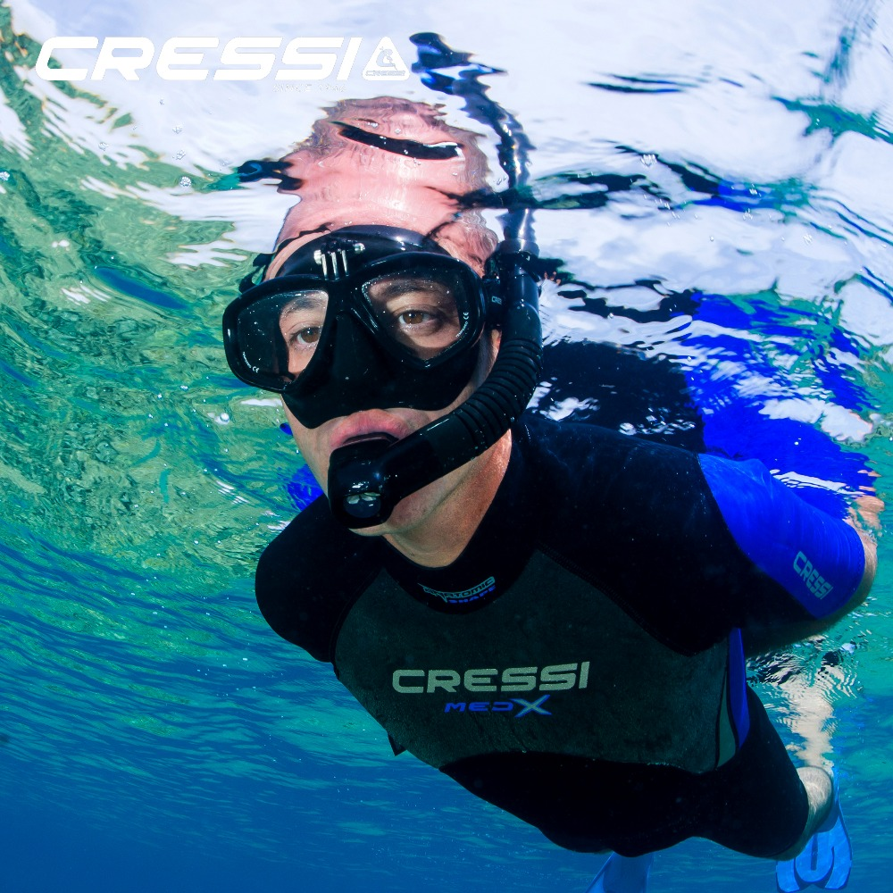 Cressi ACTION Scuba Diving Mask With Go Pro Camera Mount Tempered Glass 2 Window Low Volume