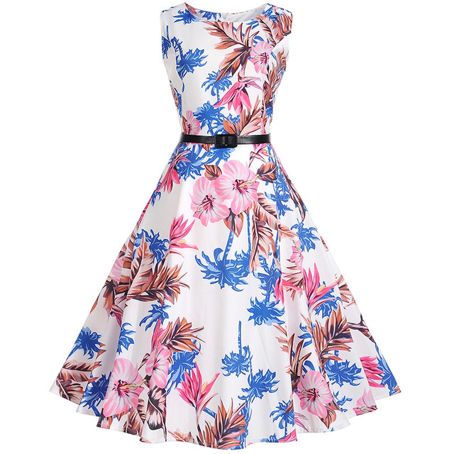 527be02ab63 Floral Print Vintage Dress Women Retro PinUp Tutu Dresses Hepburn 50s 60s  Rockabilly Robe feminino Vestidos Swing dresses S~3XL free shipping  worldwide