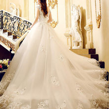 kejiadian A-line Wedding Dress 2016 cap Sleeve Chapel Train