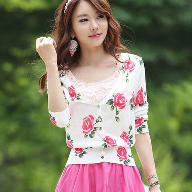 Autumn rose elegant knitted t-shirt cardigan women's top outerwear free shipping