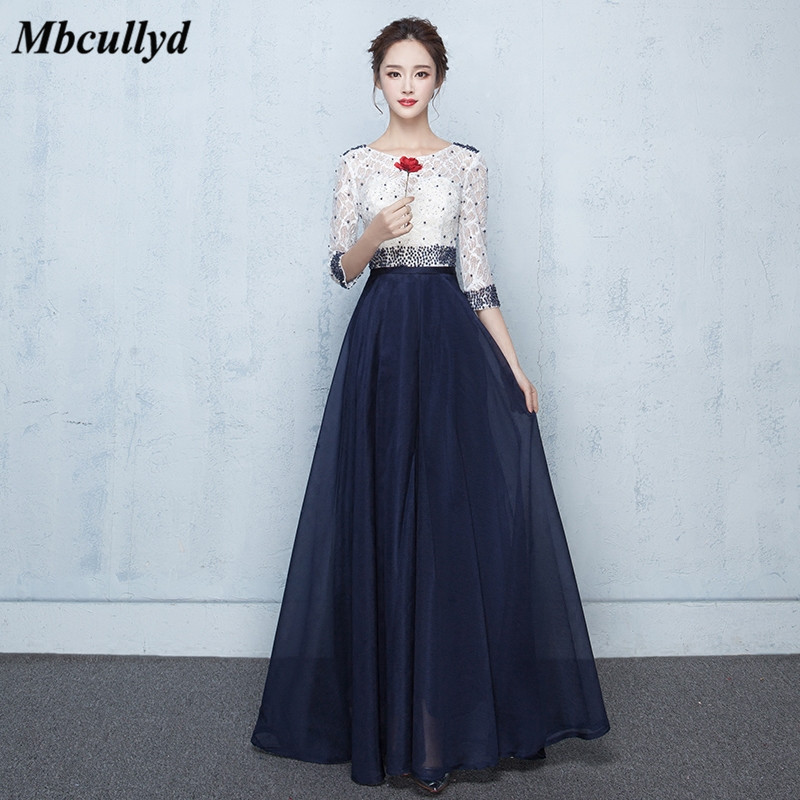 Mbcullyd Navy Blue   Bridesmaid     Dresses   2018 With 3/4 Long Sleeves   Dress   For Wedding Party New Plus Size Lace Wedding Guest   Dress