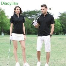 2017 new men women golf shirt summer golf training garment sports striped shirts short sleeve polo