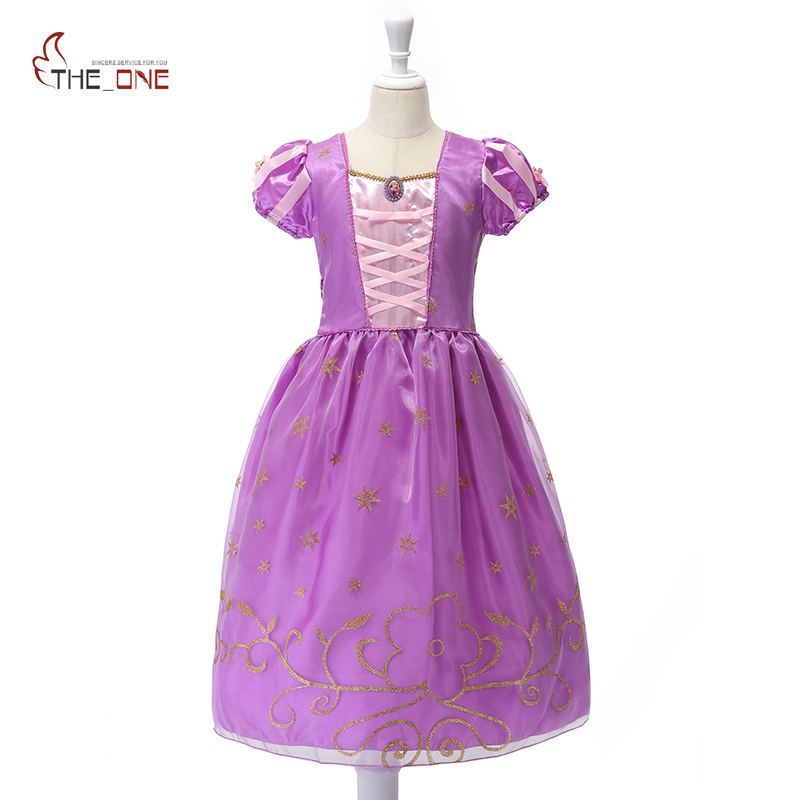 MUABABY Girls Princess Dresses Child Tangled Rapunzel Costume Kids Short Sleeve Flower Summer Party Dress Girl Birthday Clothing retail new girl flower dress child princess gauze dress summer summer costume 7 colors free shipping 5031