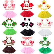 Несколько повязка со зверушками на голову бант на хвост для животных рукавицы-лапы юбка-пачка Детский костюм для косплея Для Взрослых комплект вечерние платье декор для Хэллоуина