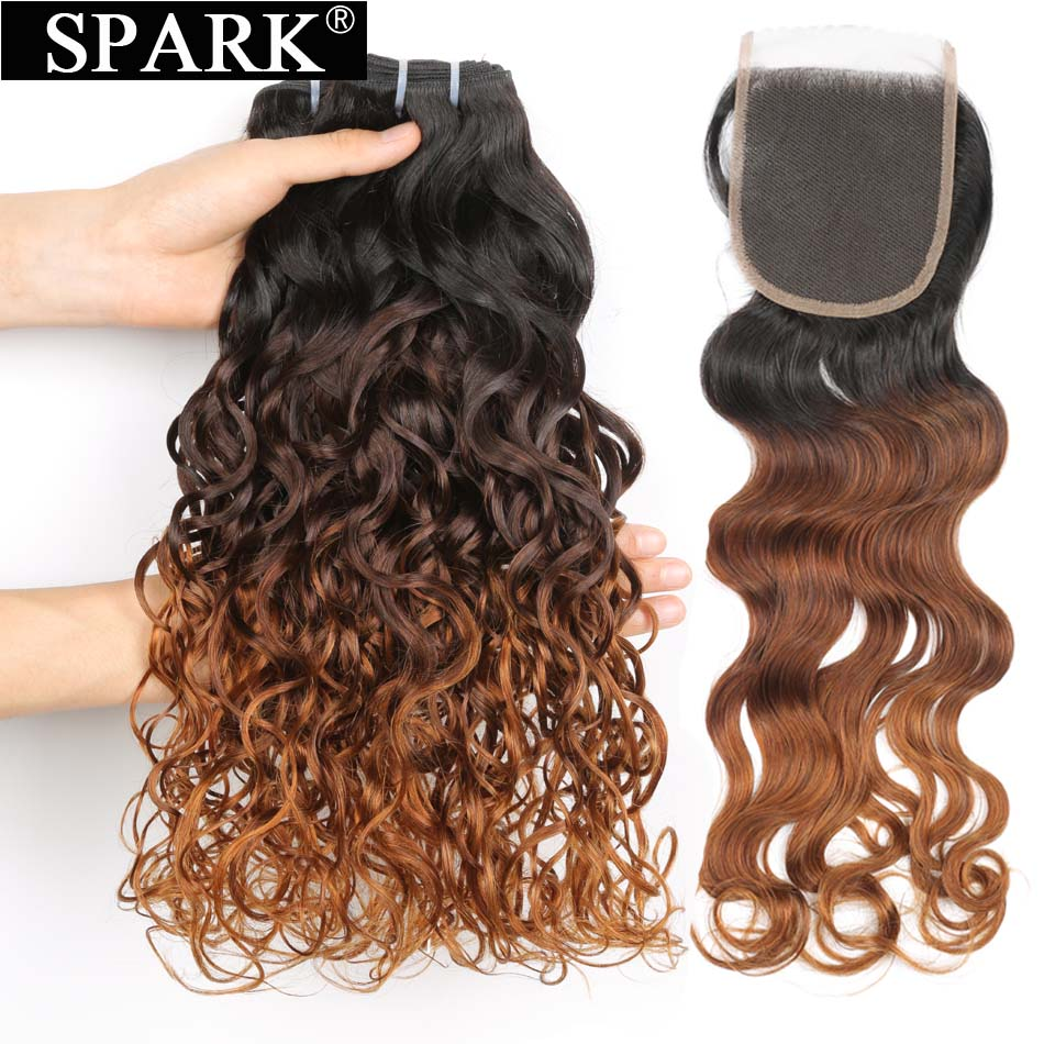 Spark Ombre Malaysian Water Wave 3/4 Bundles With Closure Human Hair Bundles With Lace Closure 1B/4/30 Remy Hair Weave Extension