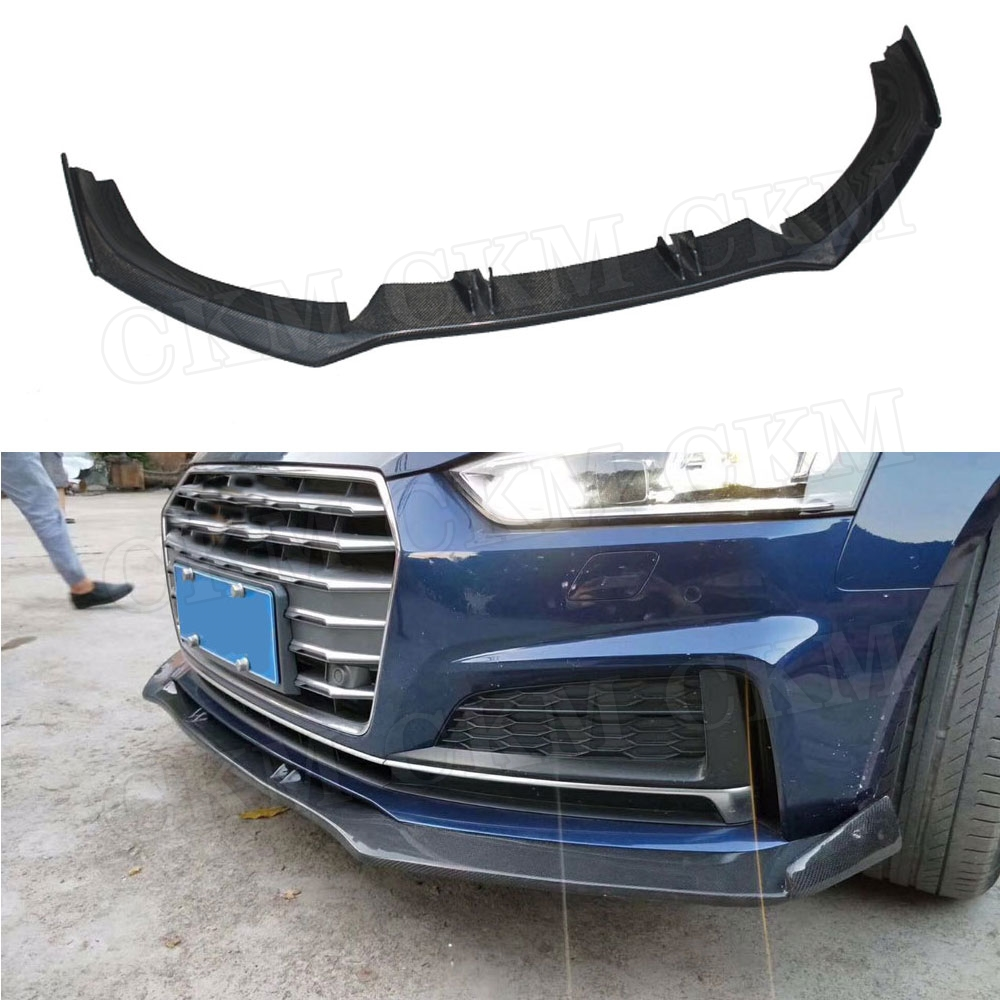 Carbon Fiber Front Lip Chin Spoiler for Audi A5 S5 2017 2018 2019 Not For A5 Standard Head Bumper Lip Cover Trim Guard|Bumpers| |  - title=