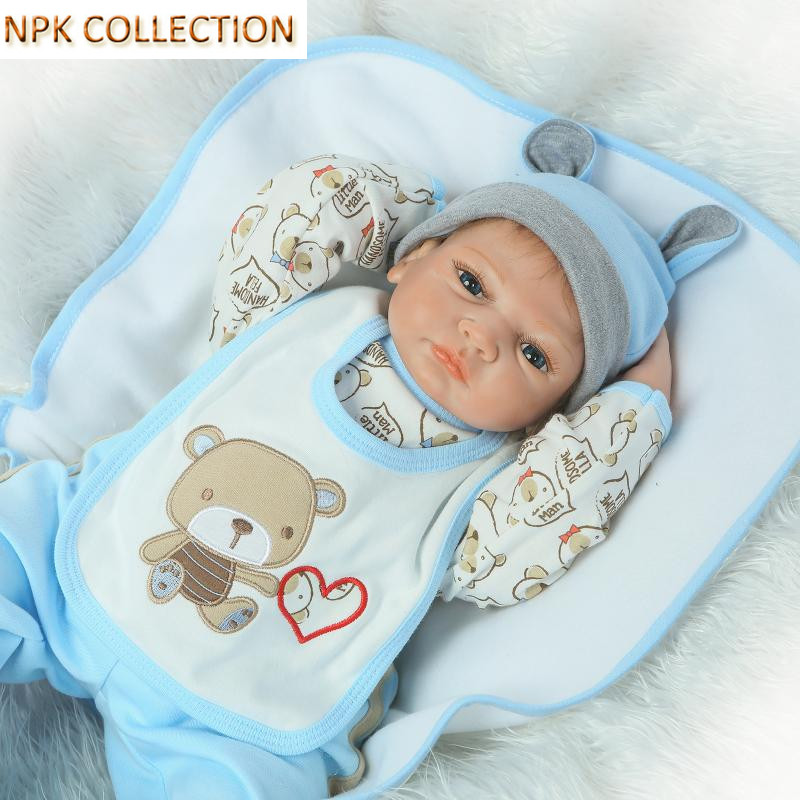 NPK COLLECTION 20 Inch Silicone Reborn Dolls Baby Alive Soft Toys for Girls,50CM Handmade Cotton Body Reborn Babies Bonecas stuffed toys about 55cm npk bonecas silicone reborn baby dolls safe and big eyes for 22inch soft vinyl alive baby toy for girls