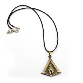 AC Odyssey Necklaces & Pendants Bronze Logo Metal Leather Rope Chain Game Necklace Kolye Collares