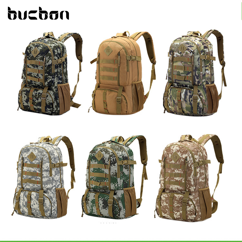 Bucbon Large Waterproof Camouflage Military Tactical Backpack Men Women Camping Hiking Fishing Hunting Backpack Rucksack HAC037 80l outdoor backpack large capacity camping camouflage military rucksack men women hiking backpack army tactical bag