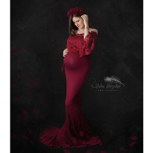 Lace Top Maternity Photography Props Dresses For Pregnant Women Clothes Maternity Dresses For Photo Shoot Pregnancy Dresses cheap Ankle-Length Solid XEIOBB Shoulderless Natural Color Casual Trumpet Mermaid Full
