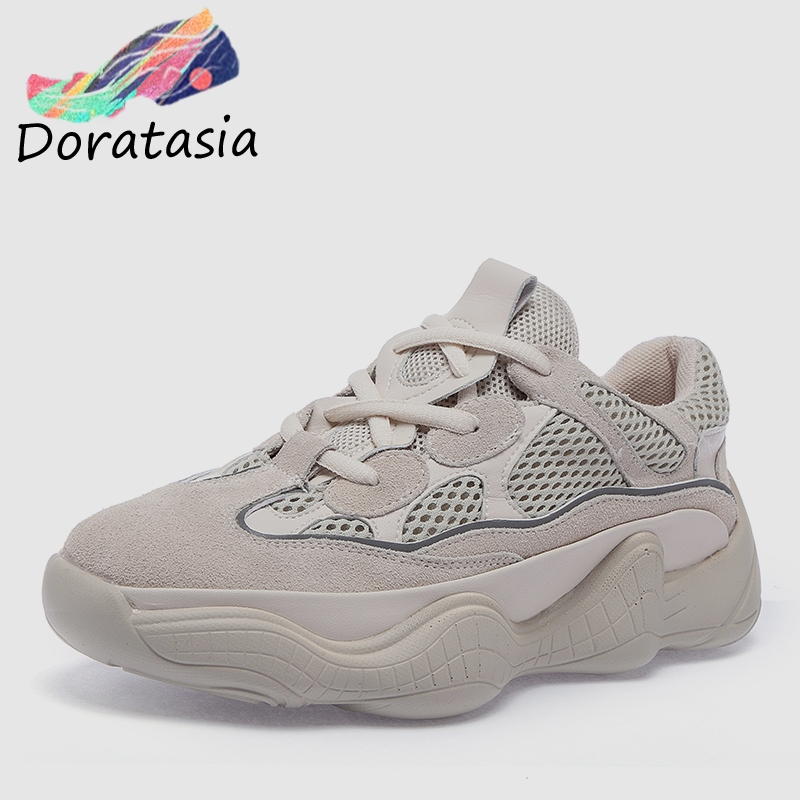 DORATASIA INS Hot Sale Runway Women Platform Sneakers Genuine   Leather     Suede   Large Size 35-43 Girl Quality High Shoes Woman