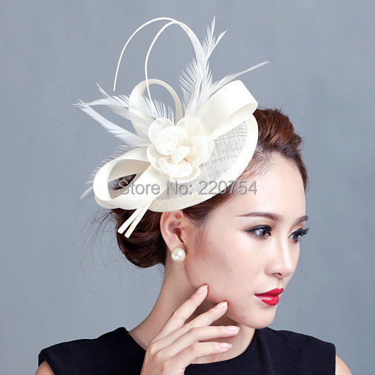Ladies cocktail fascinator flower feather sinamay fascinator women hair  accessories elegant fascinators for wedding races7COLORS ae0200e7df8
