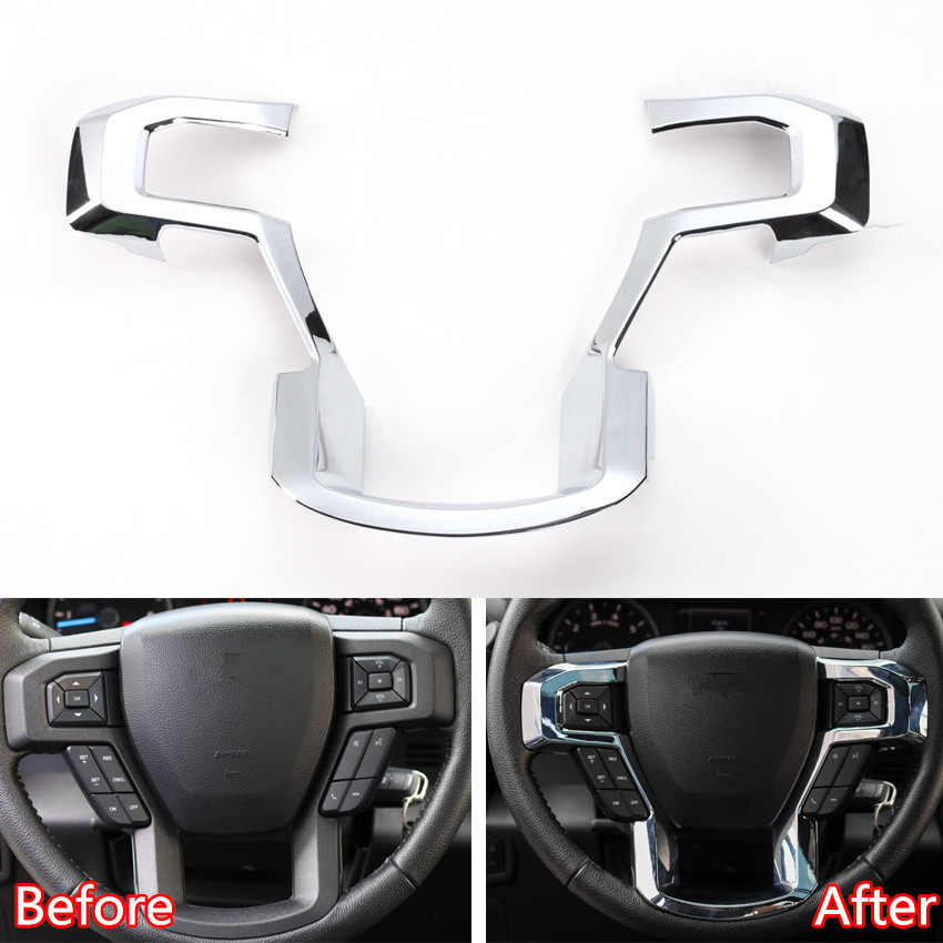 YAQUICKA Car Steering Wheel Steering-wheel Frame Strip Trim Sticker Fit For Ford F150 2015 2016 2017 Chrome ABS Bright Silver