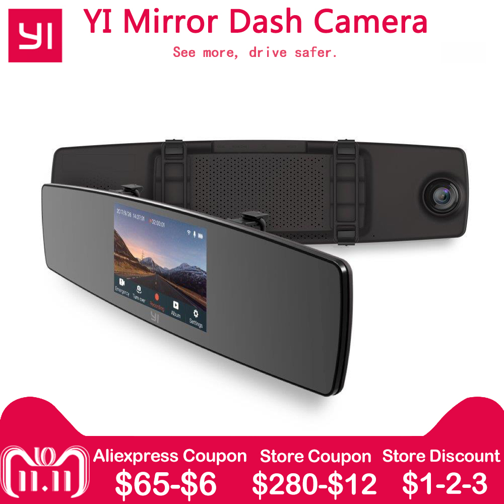 YI Mirror Dash Camera Dual Core Front Rear View Built-in ISP Car DVR Recorder Touch Screen HD G Sensor Night Vision Car Camera цена