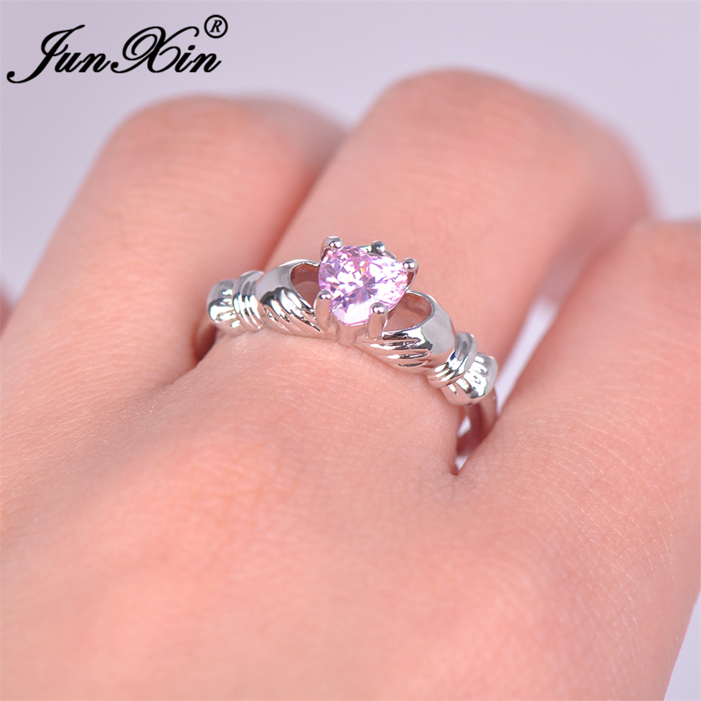 JUNXIN Cute Female Claddagh Ring Princess Pink Heart Ring White Gold ...