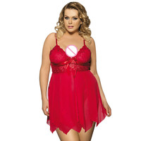 Baby Doll Sexy Lingerie Plus Size Transparent Lace Sleepwear Porn Dress Deep V Neck Hot Erotic