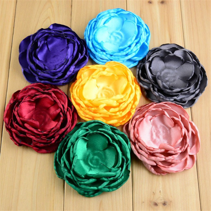 120pcs lot Wholesale 4 Large 7 Layers Burned Satin Fabric Flowers DIY Bridal Bouquet girl Hair
