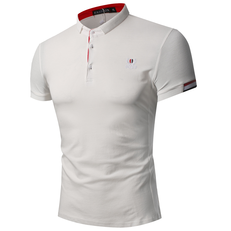 2018 New arrival fashion printing men short sleeves   polo   shirt brand   polo   men cotton breathable Pure color   Polo   Casual tops