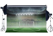 Fondo de campo de fútbol estadio telones de fondo brillante escenario luces Interior césped verde prado fotografía fondo