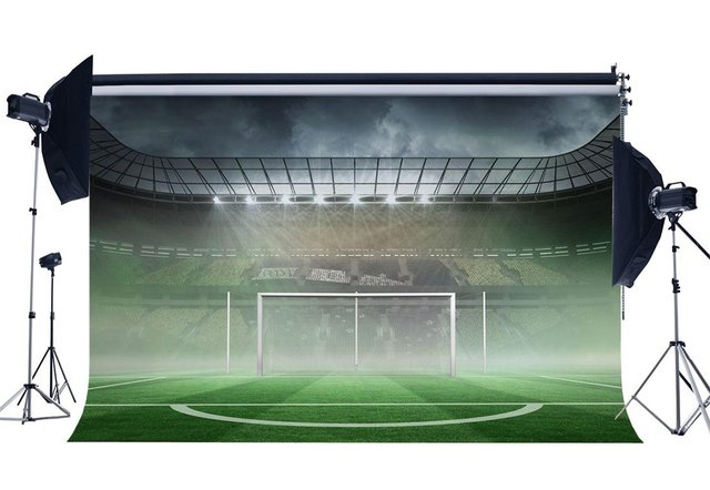 Football Field Backdrop Stadium Backdrops Shining Stage Lights Interior Green Grass Meadow Photography Background