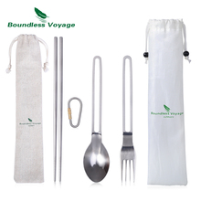 купить Boundless Voyage Titanium Spoon Fork Chopsticks with Hook Outdoor Camping Portable Tableware Flatware Cutlery по цене 923.97 рублей