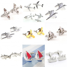 Fashion 9 Designs Plane Ship Cufflink Cuff Link 1 Pair Free Shipping Biggest Promotion cheap Tie Clips Cufflinks TZG094 Cuff Links Stone Classic Simulated-pearl Stainless Steel Various