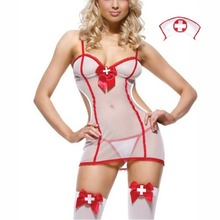 White Nurse Role Play See Through Sexy Costume