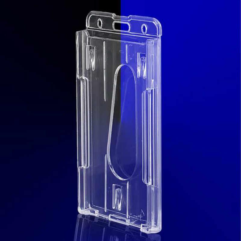 พลาสติกหลายผู้ถือป้าย ID บัตรเครดิตป้ายพลาสติกคู่การ์ดโปร่งใสแนวตั้ง 10x6cm