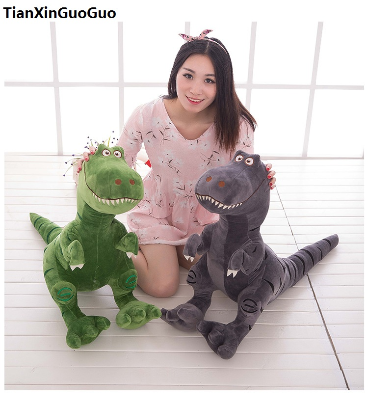 large 80cm cartoon dinosaur plush toy green or gray dinosaur soft doll throw pillow Valentine's Day gift w2539 new arrival toy huge 120cm cartoon fat hippo plush toy blue hippo doll soft pillow christmas gift w2532