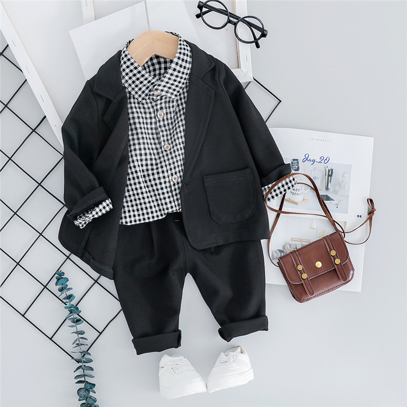 Winter 3Pcs Outwear Coat Blazer+Striped Shirt+Pants Trousers  Cotton Toddler