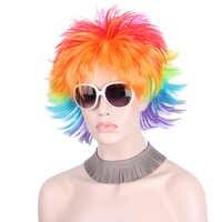 Rainbow kolorowe duże wentylatory Party peruki dla kobiet mężczyzn dzieci kolorowe piłki nożnej włosy Afro Clown peruka do cosplay czerwony zielony fioletowy niebieski