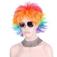 Rainbow Colorful Big Fans Party Wigs for Women Men Kids Football Hair Afro Clown Cosplay Wig Red Green Purple Blue