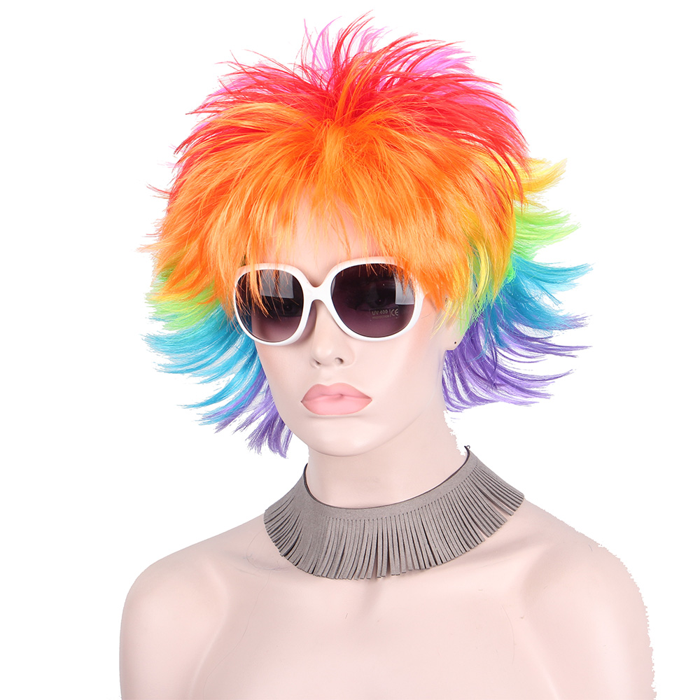 Rainbow Colorful Big Fans Party Wigs for Women Men Kids Colorful Football Hair Afro Clow ...