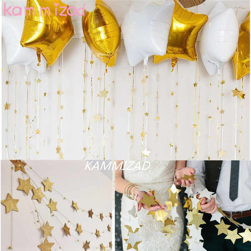 KAMMIZAD gold Star Garlands Party Banner Handmade Birthday Party Decoration Wedding Event Kids Room Wall Hanging Decoration