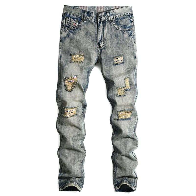 2017 Solid Mens Jeans Hole Retro Straight Male Tide Brand Denim Men Trousers Direct Selling Hot Sale Stripe Casual Ripped Jeans blackman haden sw darth vader ghost prison