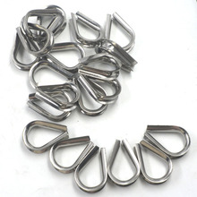 Winch Wire Loop, Silver Tone M8 304 Stainless Steel Galvanized Wire Cable Rope Thimble, a Pack of 20