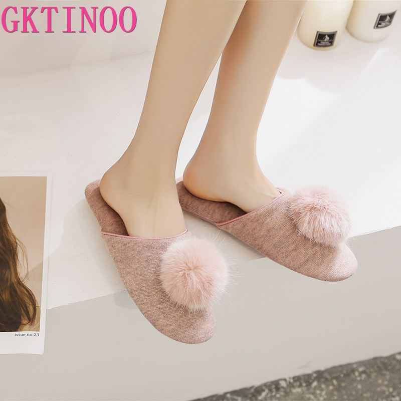 GKTINOO Spring Summer Women Home Slippers For Indoor Bedroom House Soft Bottom Cotton Warm Shoes Adult Guests Flats