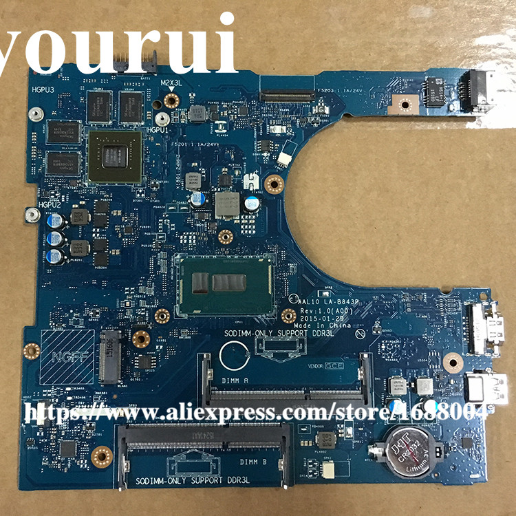 CN-04N9K2 4N9K2  04N92 FOR Dell Inspiron 5458 5558 5758 Laptop Motherboard AAL10 LA-B843P I5-5200U 920M 2GB VGA OUTPUT mainboard