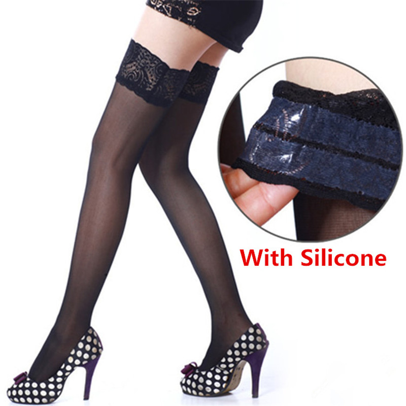 6 Colors Sexy Lace Stockings For Women Ladies Stay Up Thigh High Silicone Nylon Stockings Female Erotic Lingerie Pantyhose