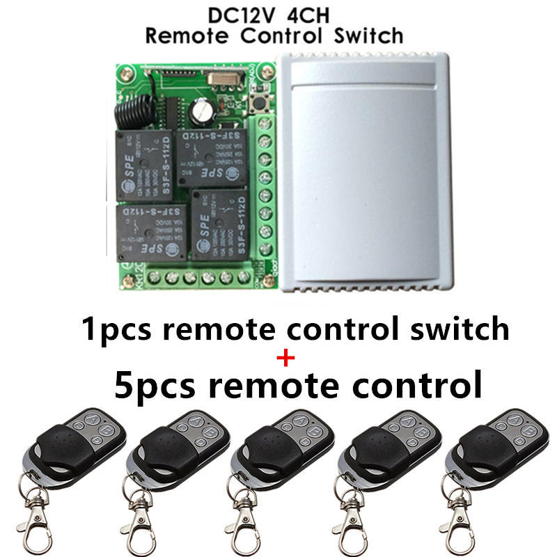 Wireless Mini 433Mhz DC 12V Relay Receiver Module And 5pcs 4 Channel RF Transmitter Learning Code 1527 Remote Control Switch Set yt04 12v 4 channel remote switch 4 button remote control w learning code off white white