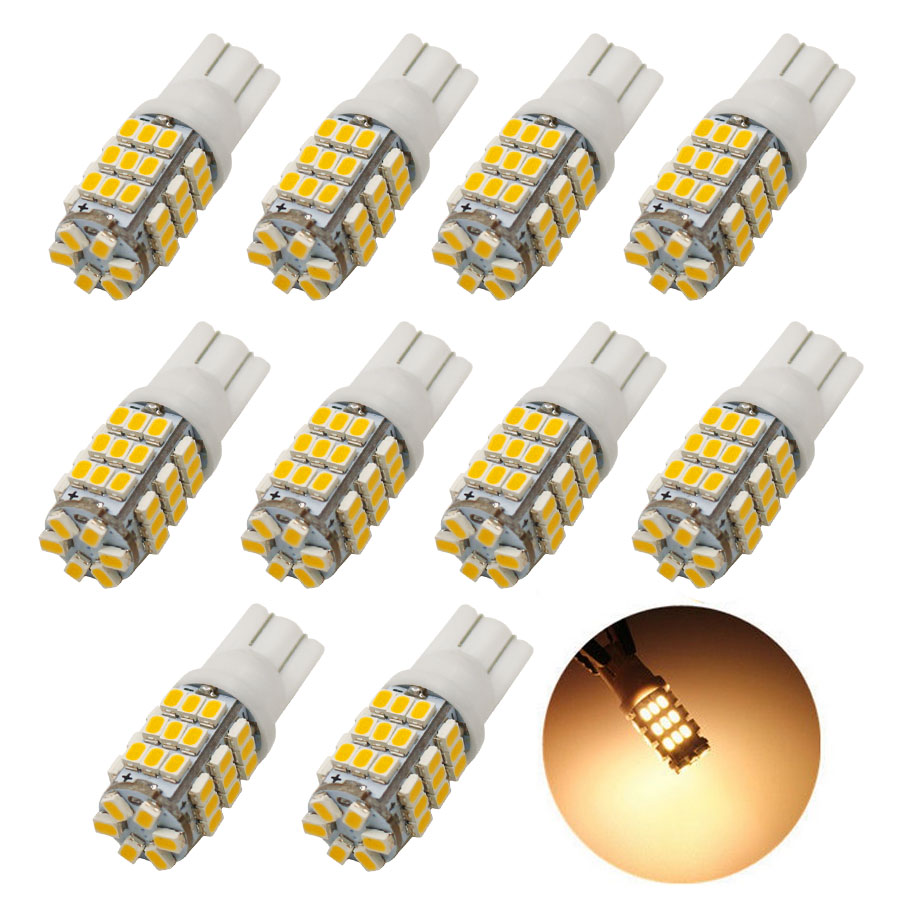 HYZHAUTO 10Pcs <font><b>T10</b></font> W5W <font><b>LED</b></font> Warm White Bulbs 3020/1206 42smd <font><b>LED</b></font> Car Lights <font><b>4300K</b></font> Auto Reading/Door/Side Marker Lamp 12V image