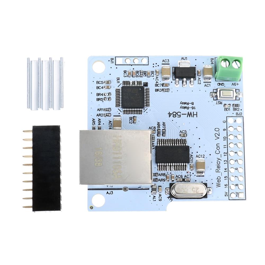 16 Channel 28J60 W5100 RJ45 Network Control Switch 5V Internet Relay Module 5V DC Network Relay