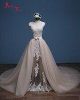 Jark Tozr 2018 Newest Arrive China Bridal Gowns Gelinlik Ivory Appliques Champagne Tulle Detachable Train Mermaid Wedding Dress