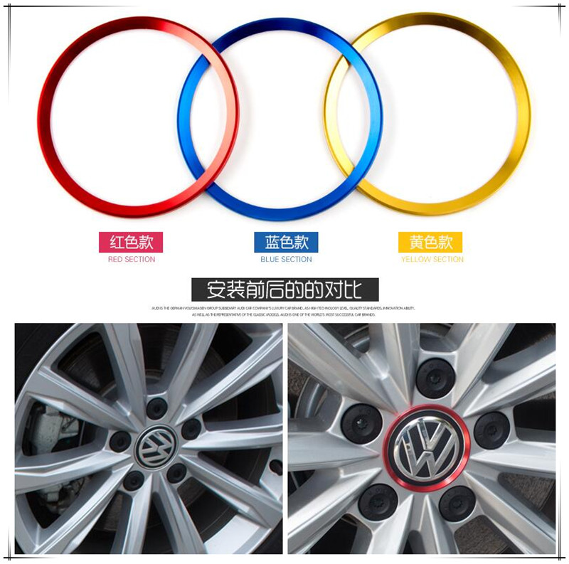 Car Styling Hub Decorative Sticker For Volkswagen VW Golf 5 6 7 Passat B6 B7 B8 CC 1 T-Roc Tiguan Touareg Arteon Eos Accessories
