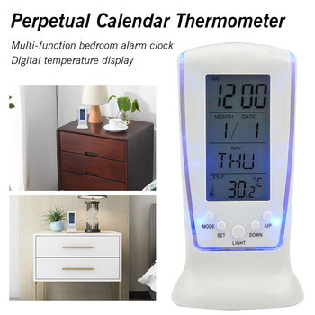Thermometer alarm clock Square Digital Alarm Clock LED Display Back Light Digital LCD Alarm Clock Calendar Thermometer Alarm Clocks