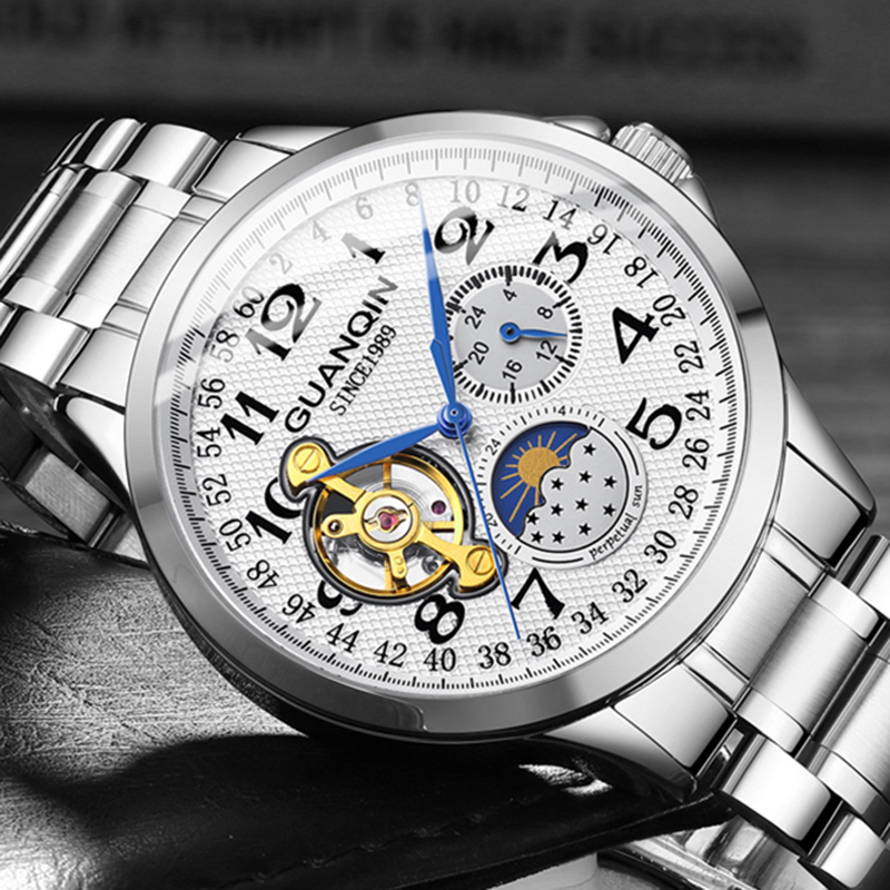 GUANQIN 2019 Men's Watches Business Automatic Top Brand Luxury  Clock Tourbillon Waterproof Mechanical Watch Relogio Masculino