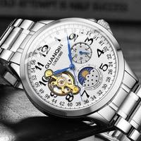 GUANQIN 2019 zegarki męskie biznes automatyczny top marka ekskluzywny zegarek Tourbillon wodoodporny zegarek mechaniczny relogio masculino w Zegarki mechaniczne od Zegarki na