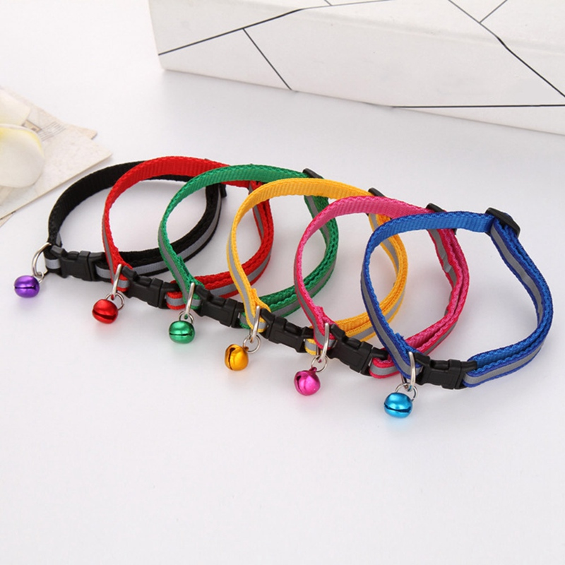 Hot Cute Dog Pet Glossy Reflective Collar Safety Buckle Bell Strap 12 Colors Adjustable Strap