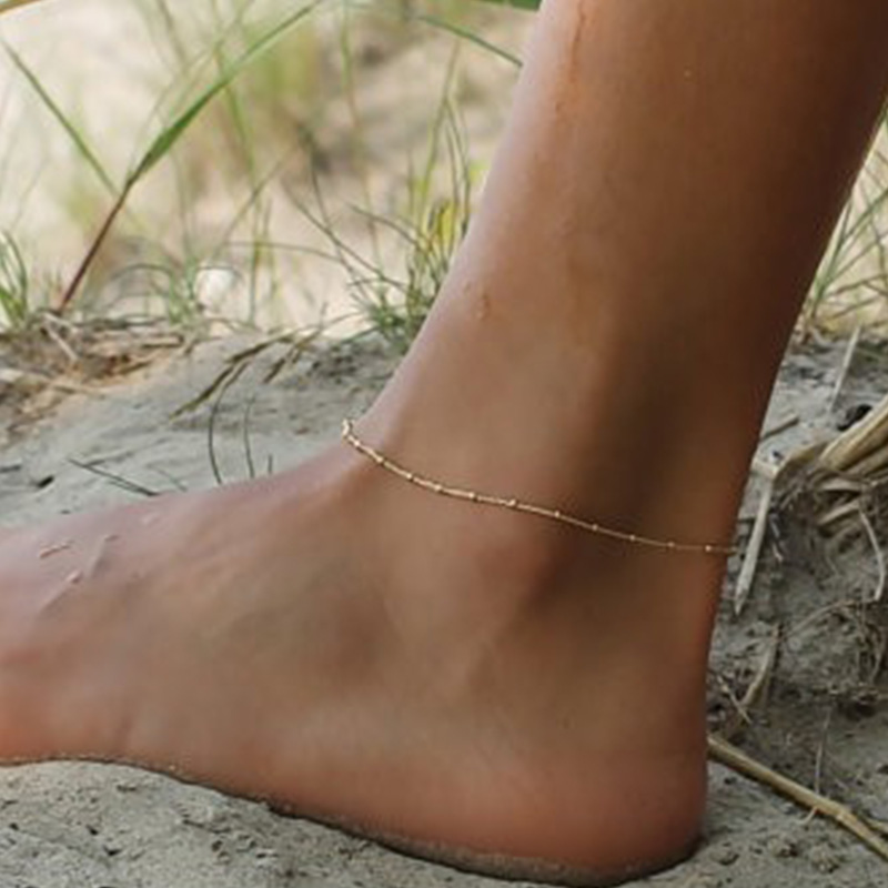 gold anklet designs barefoot sandals jewelry Simple cheap beach Beads chain anklets for women's fashion jewelry